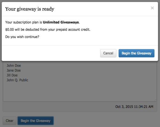 Step 4: Begin the Giveaway